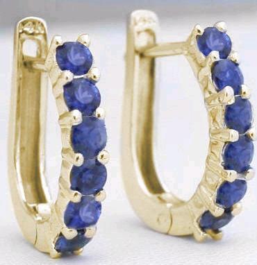 13 ctw blue sapphire hoop earrings in 14k yellow gold