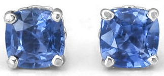 Cushion Sapphire Stud Earrings