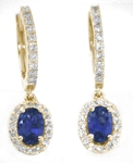 Blue Sapphire and Diamond Dangle Earrings in 14k yellow gold