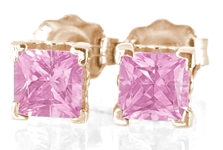 Pink Sapphire Stud Earrings - Rose Gold- Princess Cut