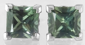 Green Sapphire Earrings - Natural Princess Cut Green Sapphire Stud Earrings in 14k white gold
