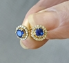 4mm Round Sapphire and Diamond Earrings in 14k yellow gold