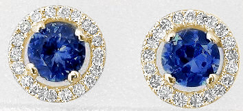 4mm Round Sapphire Earrings with Diamond Halo in 14k yellow gold