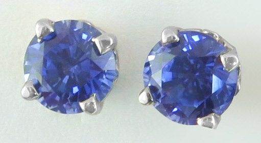 Real Round Sapphire Solitaire Stud Earrings in 14k white gold