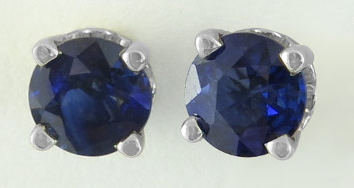 Round Sapphire Solitaire Earrings in 14k white gold for sale