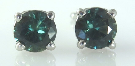 4.4mm Round Natural Green Sapphire Stud Earrings in 14k white gold