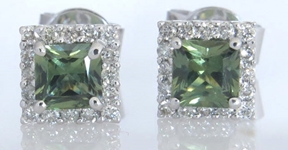 1.21 ctw Princess Cut Green Sapphire Stud Earrings with Diamond Halo in 14k white gold Green Sapphire Earrings, Green Sapphire Solitaire Earrings, Green Sapphire Stud Earrings, Natural Green Sapphire, Genuine Green Sapphire