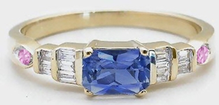 0.82 ctw Natural Blue Sapphire, Pink Sapphire and Baguette Diamond Ring in 14k yellow gold Sapphire Rings, Sapphire Rings, Sapphire and Diamond Rings, Sapphire Diamond Engagement Ring