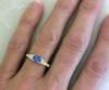 0.82 ctw Natural Blue Sapphire, Pink Sapphire and Baguette Diamond Ring in 14k yellow gold - SBR-124