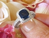 Natural 8mm royal blue sapphire engagement ring with a real diamond halo and fancy ornate 18k white gold mounting