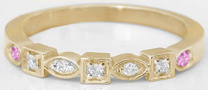 Real Diamond Wedding Band with Natural Pink Sapphires in solid 14k yellow gold