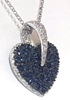 Pave Blue Sapphire and Diamond Heart Pendant in 14k white gold
