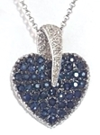 Pave Blue Sapphire Heart Pendant with Diamonds in 14k white gold