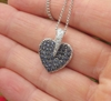 Natural Pave Sapphire Heart Pendant in 14k white gold