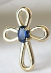 Real  Sapphire Solitaire Cross Pendant in 14k yellow gold for her