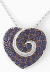 Natural Blue Sapphire and Diamond Heart Pendant in 14k white gold