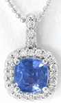 Sapphire Pendant with Dimaonds
