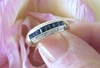 Channel Set Natural Sapphire Stackable Band Ring in real solid 14k yellow