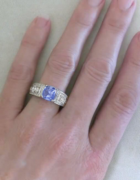 3 63 ctw Cushion Cut Blue Sapphire and Diamond Wide Band Ring in