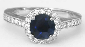 Natural Round Sapphire Ring with Diamond Halo in 14k white gold