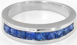 Channel Set Princess Cut Natural Sapphire Wedding Band Ring in solid 14k white gold for sale
