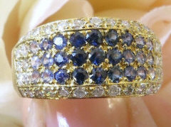 Pave set natural blue sapphire fashion ring with real diamonds in solid 18k yellow gold for sale