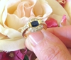 East West Set Oval Natural Sapphire and Real Pave Diamond Halo Ring in solid 14k yellow gold