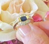 East West Set Oval Natural Sapphire and Diamond Halo Ring in solid 14k yellow gold