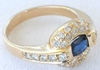 East West Set Oval Natural Sapphire Fashion Ring with Real Diamond Halo in solid 14k yellow gold