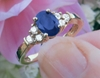 1 carat Natural Oval Sapphire Ring with Diamonds in solid 14k yellow gold