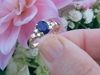 solid 14k yellow gold Natural Oval Blue Sapphire Ring with Diamonds