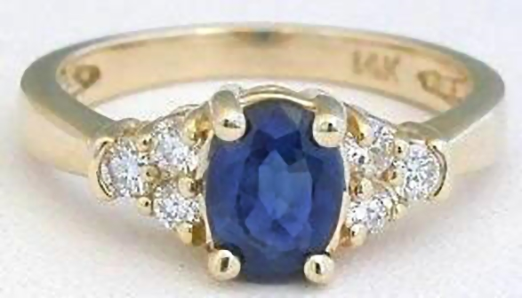 Classic 1 carat Real Sapphire Ring with Diamonds in solid 14k yellow gold