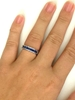 Real 14k white gold Channel Set Princess Cut Genuine Blue Sapphire Wedding Band Ring