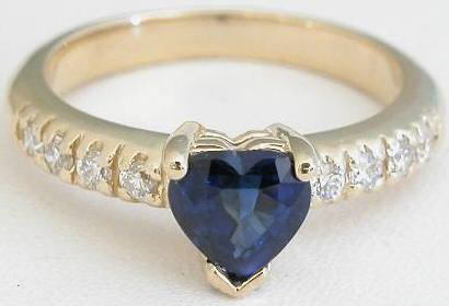 Heart Cut Natural Blue Sapphire Engagment Ring with real diamonds in solid 14k yellow gold
