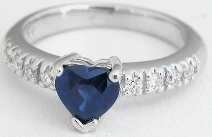 Natural Heart Cut Blue Sapphire Engagement Ring in solid 14k white gold