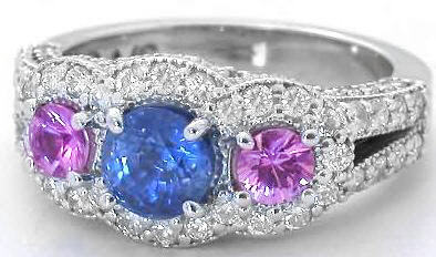 Blue Pink Sapphire Ring