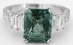 Radiant Natural Green Sapphire and Baguette Diamond Ring in 18k white gold