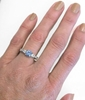 Round Blue Sapphire ring with pear white sapphire 3 stone ring in white gold