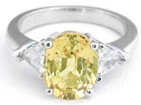 Three Stone Trillion Diamond Yellow Sapphire Ring