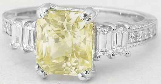 Natural Unheated Yellow Sapphire Ring