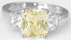 3.32 carat Unheated Yellow Sapphire and White Sapphire Ring in 14k white gold
