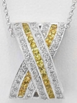Princess Cut Yellow Sapphire Pendants