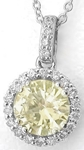 Round Yellow Sapphire Diamond halo Pendants