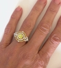 One of a Kind Round Yellow Sapphire and Diamond Halo Ring