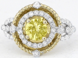 Unique 1.43 ctw Yellow Sapphire and Diamond Ring in 14k white and yellow gold