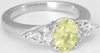 3 Stone Natural Oval Yellow Sapphire and White Sapphire Ring in 14k white gold
