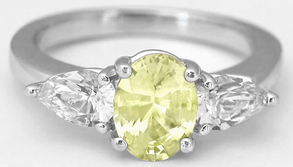 Diamond Alternative - Past Present Future Natural Oval Yellow Sapphire and White Sapphire Ring in 14k white gold