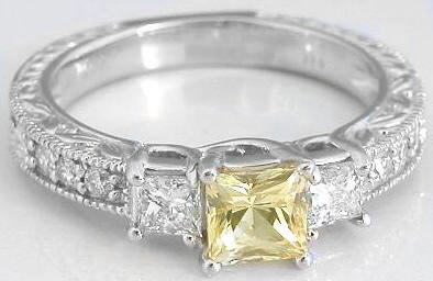 Genuine Yellow Sapphire Ring Princess Cut - Past Present Future Style