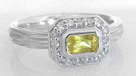 East West Set Natural Yellow Sapphire Ring in 14k white gold