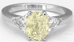 Unheated Oval Yellow Ring with Trillion White Sapphires